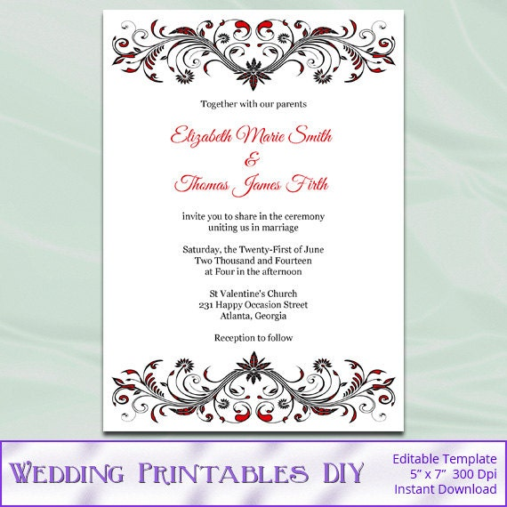 Red And Black Wedding Invitation Template Diy Birthday Bridal
