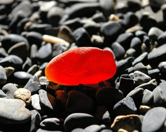 Genuine Bright Red  Sea Glass Shard!