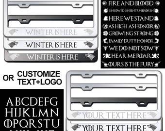 Game of Thrones Sigil and Logo or Your Own Customized Laser Engraved Stainless Steel License Plate Frame