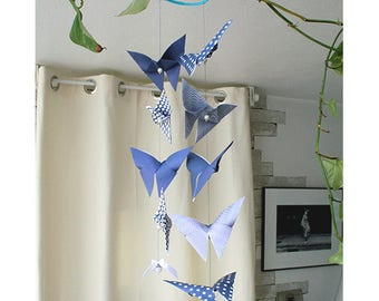 Blue and white origami Butterfly mobile