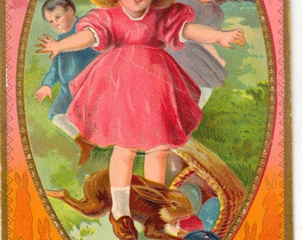 Vintage Easter Postcard, Children and Bunny Looking for Easter Eggs, 1911