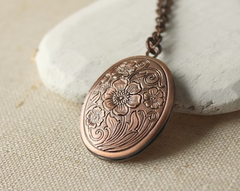 Copper locket Antiqued copper photo Locket Long Chain Necklace plated gift for her mother sister friend girlfriend choose your length N145