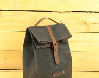 Lunch bag waxed canvas, waxed canvas reusable, Lunchbag with handle, lunchbox, lunch bag, sac á lunch, snack bag.