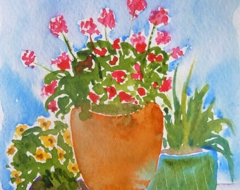 Geraniums on Blue Watercolor Notecard