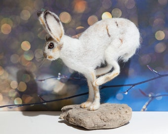 Snow Hare - Needle Felted, One of a Kind