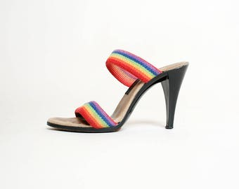 Vintage 1970s Heels - Rainbow Strap Slide On High Heel Sandals - Black Heel - Size 6 1/2 7