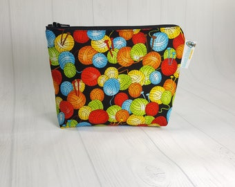 Rainbow Yarn Balls Zipper Notions Pouch, Mini Zippered Wedge Bag, Craft Pouch NP0039