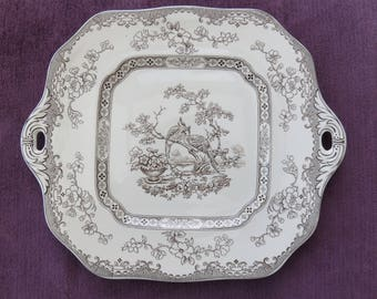 Copeland Spode Eden Pheasant plate with handles, pattern 615911, a large vintage serving plate from the 1930s