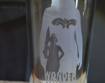 Superhero Wonder Woman Homemade Hand Etched Tumbler A Must Have!!