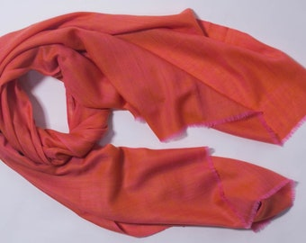 100% Cashmere Scarves: Sunset orange scarf