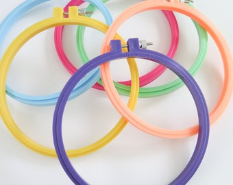 6 inch Embroidery Hoop | Hoop-La Plastic Embroidery Hoops from Susan Bates for Hand Embroidery, Cross Stitch, Hoop Art, Embroidery Frame