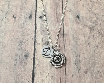 Rose initial necklace - rose jewelry, flower jewelry, gardener jewelry, florist necklace, silver rose pendant, garden necklace, rose gift