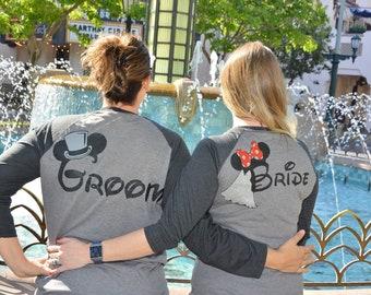 Bride and Groom Honeymoon Baseball Tees Disneyland Walt Disney World Bridesmaid Maid of Honor Wedding Bachelorette Just Married