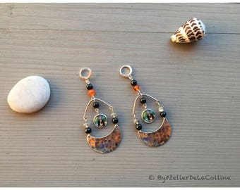 Serling silver leverback Frida Kahlo cabochon earrings with black agate and labradorite