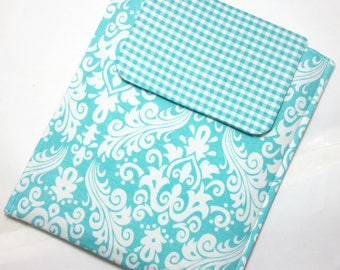 iPad Mini case, Kindle Fire Cover, Tablet Sleeve, Blue Tablet Cover, MacBook Air Case, Gadget Case, Tablet Cover, Blue Damask Tablet Case.
