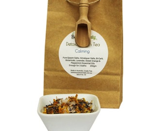 250gm Detoxing Bath Teas with pure Epsom salts, Himalayan salt, botanicals, essential oils