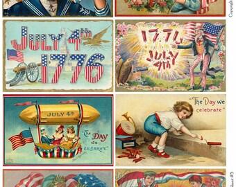 4TH OF JULY Vintage Postcards 5 - Instant Download Digital Collage Sheet