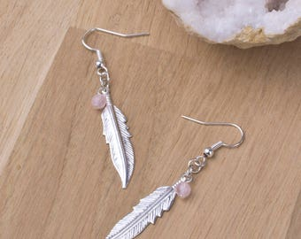 Silver feather earrings with rose quartz dangles | Pink gemstone jewellery | Boho gem earrings | Feather jewelry | Long dangle earrings