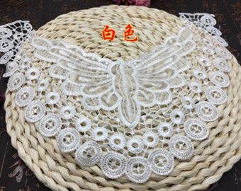 Sale, Lace collar necklace white lace collar applique by per piece -(XS)