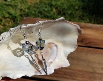 Crystal Cube Sterling Silver Feather Earrings