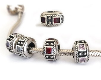Birthstone Charms Large Hole Bead for Bracelets Square Stone