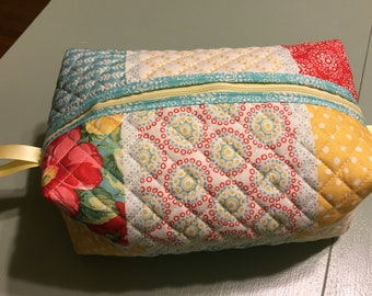 "Quilted Travel Bag or makeup bag 6""x7"""
