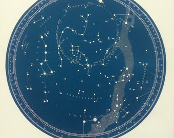 1880s Antique Astronomy Print , Blue-Black Star Chart of Constellations, North Polar, Northern Hemisphere, Astrology, Astrological Signs (A)