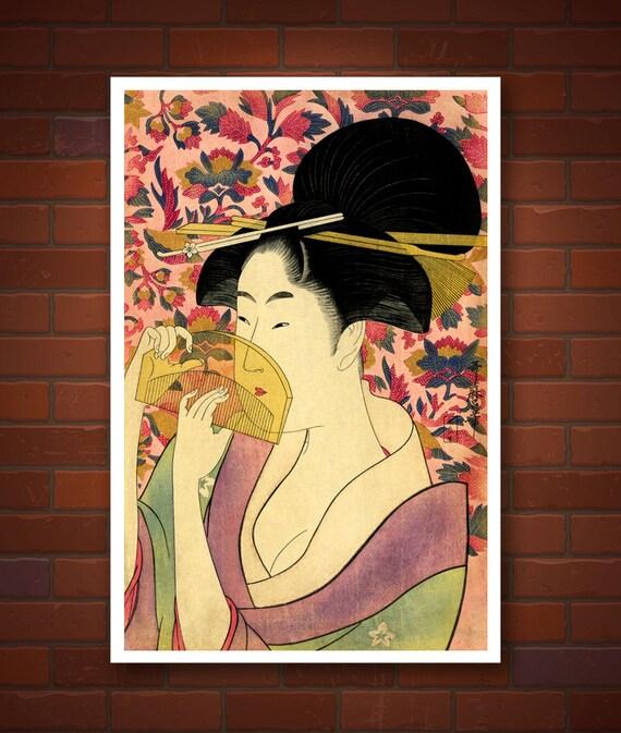 Japanese art beautiful japanese geisha Utamaro FINE ART