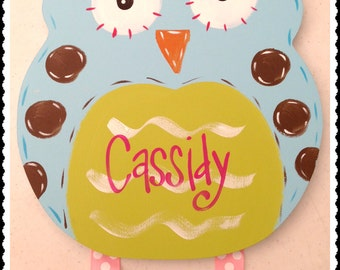 LARGE ORIGINAL wooden cut-out Owl Bow Holder Personalized Custom Hand Painted