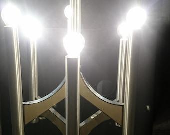 Vintage Gaetano Sciolari chandelier six lights Italian design aluminium 1970's