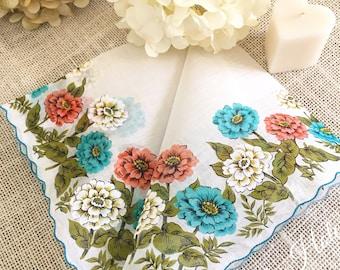 """Vintage Ladies Handkerchief, Colette, Wedding Hanky, Multicolor flowers, Mother of the Bride, Bridesmaid, Bride, Farmhouse  16"""""""