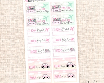 Travel plans stickers - 14 box planner stickers / road trip, hotel, vacation