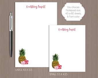 Pineapple Notepad . Personalized Note Pad . Hawaiian Notepad . Tropical Note Pad . Large Notepad . Small Notepad . Wedding Gift . Custom