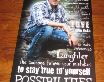 """Personalized GRADUATION PHOTO Gift- Giclee MOUNTED prints- custom made to order- 13"""" x 28"""""""
