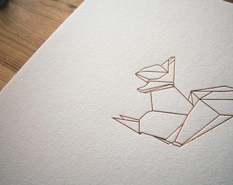Copper Wall Art - Origami Foil Squirrel Print