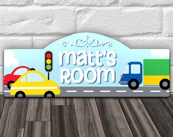 "Custom PERSONALIZED Kids Wood Wall Room Door Sign Blue Boys Nursery Bedroom Decor Cars Trucks Transportation Theme 15 x 6"" GREAT Gift!"