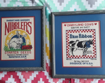 Two Country Kitchen Cross Stitch Pictures