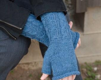 Blue Fingerless Mitts; Handknit Fingerless Gloves