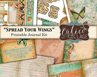 Printable, Journal Kit, Spread Your Wings, Butterfly Ephemera, Junk Journal Kit, Spring, Ephemera Pack, Journal Pages, Birds, Digital Paper