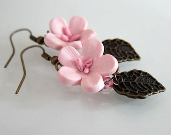 Cherry Blossom Earrings - Polymer Clay