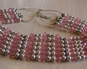 Pink Faceted Crystal and Sterling Silver Bead Wide Choker (J)