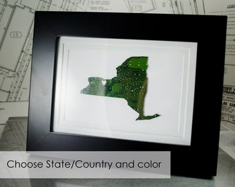 Custom State Wall Art, Small Geek Art, State Pride Decor, Housewarming Gift, Retirement Memento, Engineer Gift, Computer Programmer Art