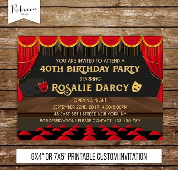 broadway invitation broadway birthday invitation theatre