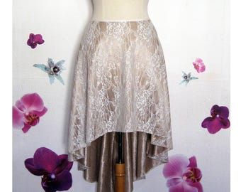 Corolla skirt asymmetric in glazed Brown satin and lace
