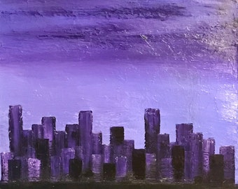 Shades of purple cityscape 15x30