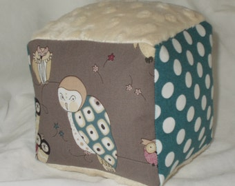 Smoke Gray Owls Fabric Block Rattle Toy - SALE