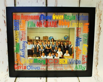 School Words Glass Floating Picture Frame-Teacher Gift, End of the year Gift, First day of school Gift, Personalized Teacher Gift,Class Gift