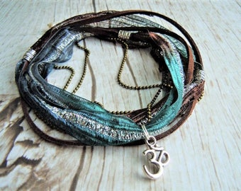 Om Anklet, Ankle Wrap, Yoga Anklet, Teal, Brown, Silver Anklet, Boho Style, Yoga Gift, For Her, Birthday Gift, Om Jewelry, Yoga Accessories