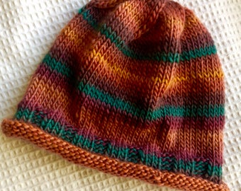 Rust, Green and Gold Handknit Wool Hat, Good Chemocap, One of a Kind