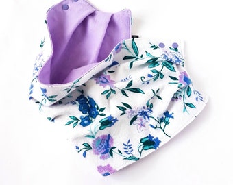 Scarf-bib / Toddler Scarf / Baby Scarf / Bib Scarf / Baby Girl / Floral Print Reversible / Bib / Scarves / MiBaby Boutique